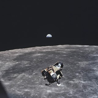 Apollo 11 Mission Image - View of Moon limb and Lunar Module during ascent, Mare Smythii, Earth on horizon