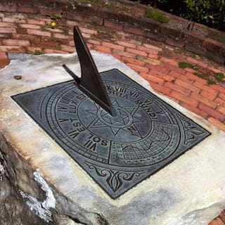 A sundial in the Southern hemisphere.