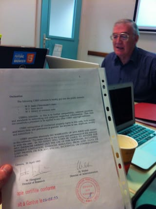 Robert Cailleau's copy of the document that put the World Wide Web into the public domain.