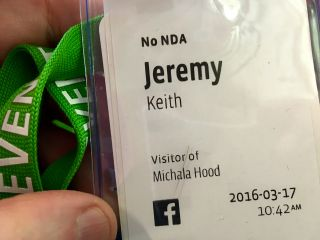 Achievement unlocked: got a custom-made badge for refusing to sign an NDA at Facebook's Mobile@Scale event.
