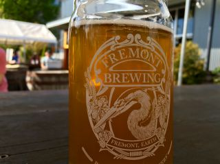 Enjoying a beer in the sun at the Fremont Brewing Company. Feel free to come and join me. (this is not a DM fail)