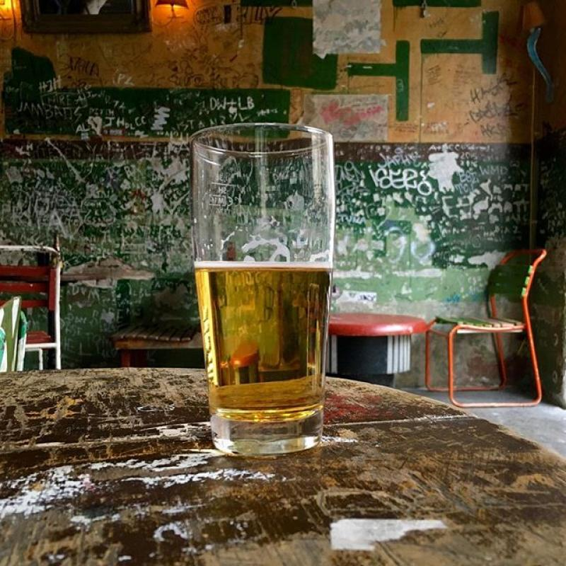 Beer in a ruin bar.