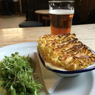 Fish pie and a pint.
