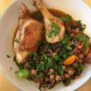 Chicken with chickpeas and chorizo.