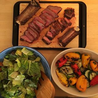 Short ribs, salad, and grilled veggies.