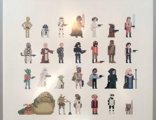Pixelated Star Wars characters almost, but not quite, in chronological order.
