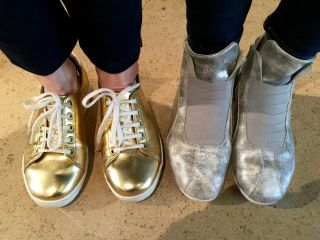 Both @TessaWatson14 and @QwertyKate are wearing awesome space shoes in the @Clearleft HQ today.