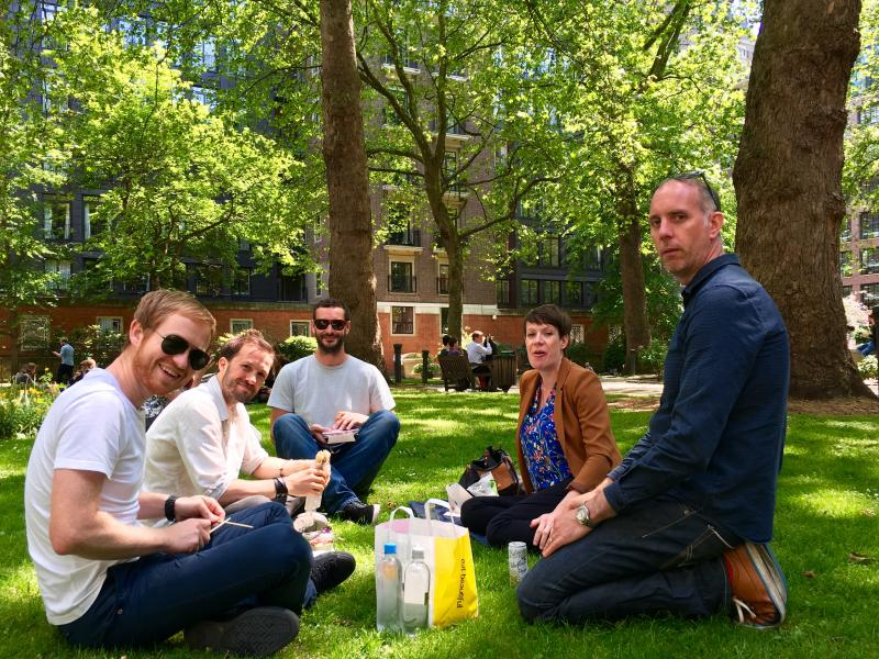 Lunch in a London park.