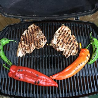 Pork chops and peppers.