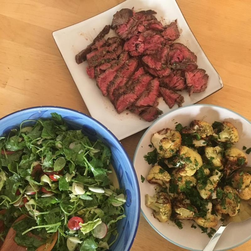 Bavette with salad and charred cauliflower.