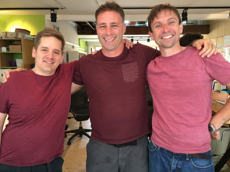 Mauve triplets in the @Clearleft office: @PaulRobertLloyd, @HarryBr, and @Boxman.