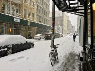 Snowy day in Soho.