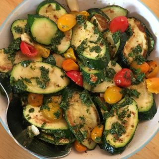 Grilled courgettes and cherry tomatoes.