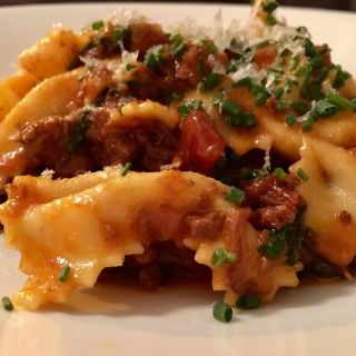 Farfalle with Sussex beef ragu and rainbow chard.