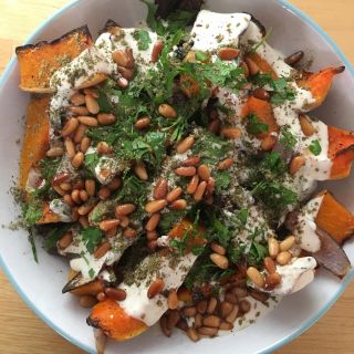 Roasted butternut squash and red onion with tahini and red za'atar.