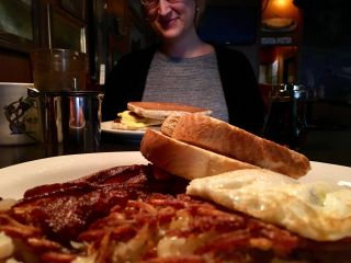Checked in at Lost Lake Cafe & Lounge. Breakfast in America. 🥞 🍳 — with Jessica