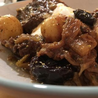 Beef brisket and prunes cooked in ale.