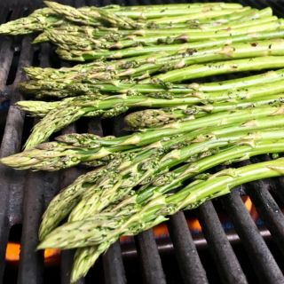 Grilling asparagus.