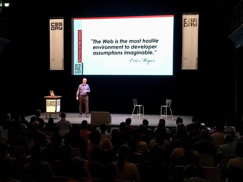 "Nodding my head in vigorous agreement with @meyerweb's @cssdayconf talk. ""The web is the most hostile environment to developer assumptions imaginable."""