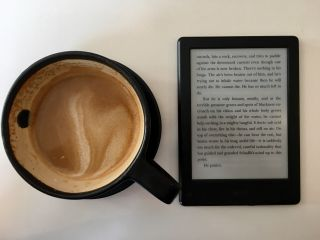 Checked in at Kookaburra Beach. Coffee and Kindle — with Jessica