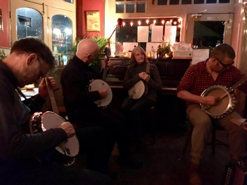 Checked in at Jolly Brewer. Banjo time. — with Jessica