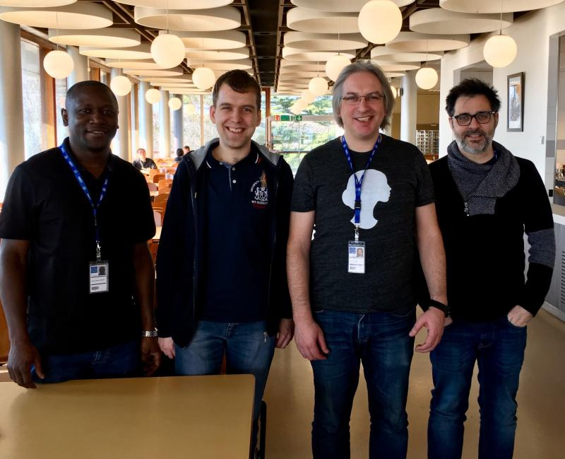 Hey @ArielWaldman, we've got four @ScienceHackDay organisers in one place here at CERN!