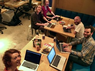 Hacking away at Homebrew Website Club Brighton! https://indieweb.org/Homebrew_Website_Club#Brighton
