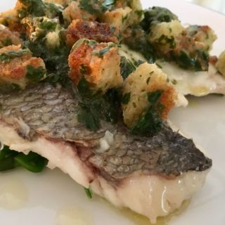 Bream on samphire with sauce grenobloise.