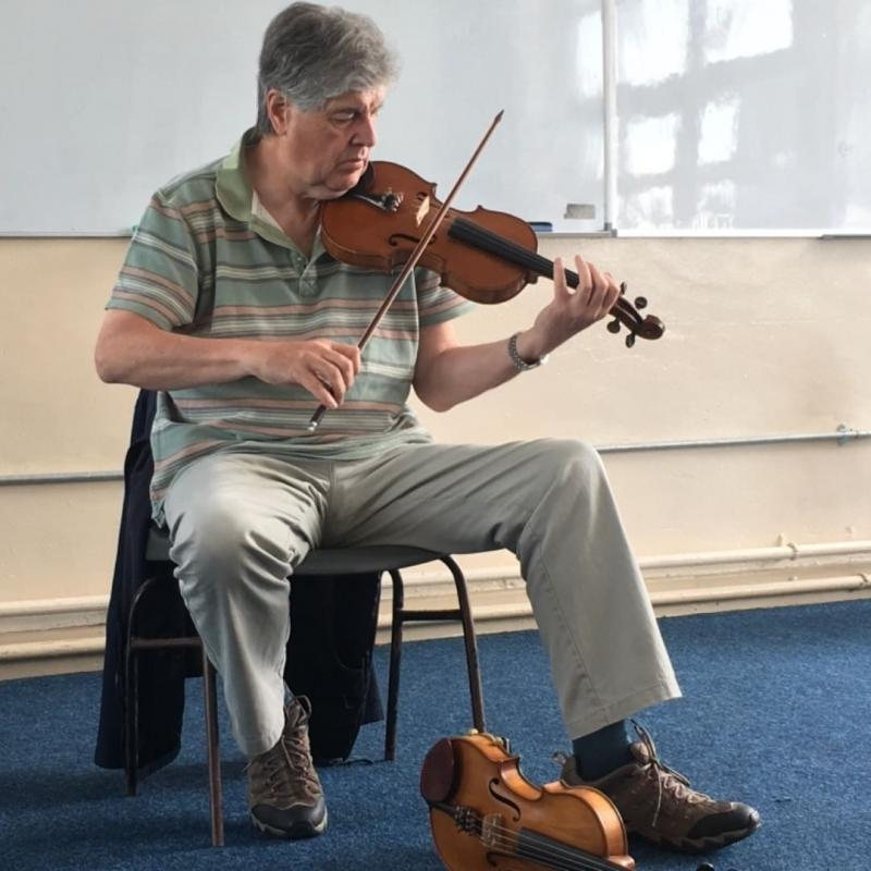 Paddy Glackin playing Seamus Ennis's fiddle.