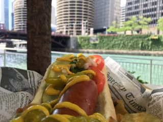 Checked in at Chicago Brewhouse. Chicago dog! — with Jessica