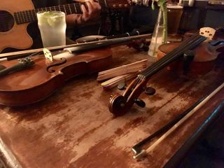 Checked in at Jolly Brewer. Fiddles at the ready 🎻 — with Jessica