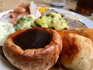 Checked in at Fox On the Downs. Sunday roast — with Jessica