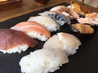 Checked in at wa cafe. Sushi — with Jessica