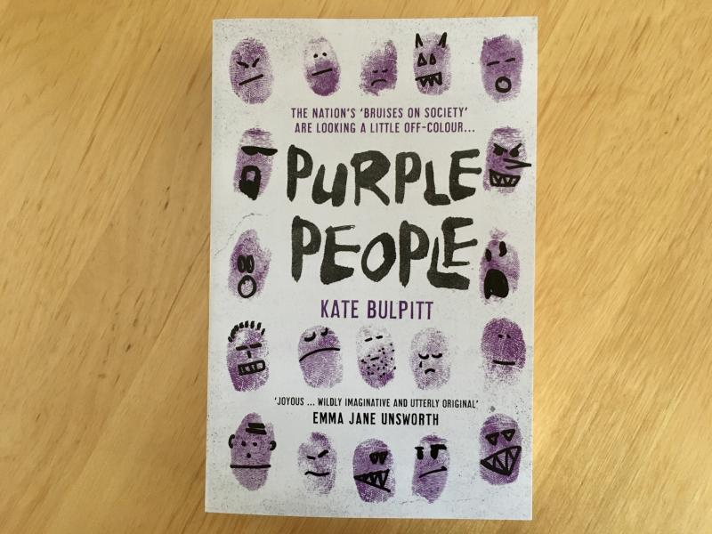 "W00t! My copy of Purple People has arrived! Really looking forward to reading @QwertyKate's ""jolly dystopia."""