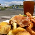 Checked in at Fox On the Downs. Sunday roast and a pint in the sun — with Jessica