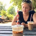 Checked in at Pelicano. Iced latte — with Jessica