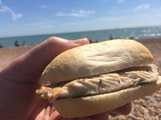 Mackerel sandwich on the beach.