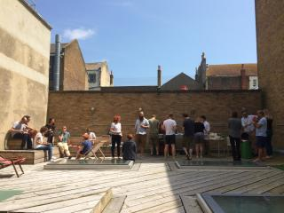 Lunchtime BBQ at @Clearleft Towers.
