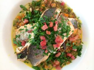 Sea bass and lentils with pancetta.