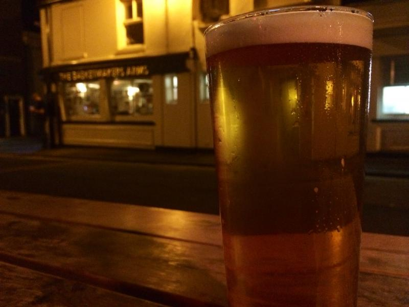 Having a pint outside The Eagle on this fine Sunday evening.