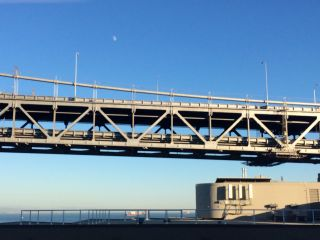 Moon over the Bay Bridge.