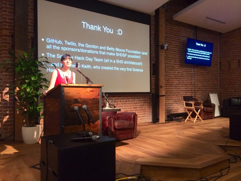 It's @ArielWaldman kicking off @ScienceHackDay San Francisco.