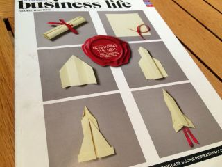 "Having lunch in the BA lounge at Gatwick, admiring @KyleBean's work on the front of ""Business Life"" magazine."