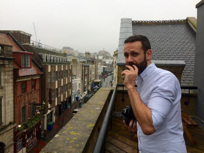 It's @DanRubin on the roof of @Clearleft Towers.