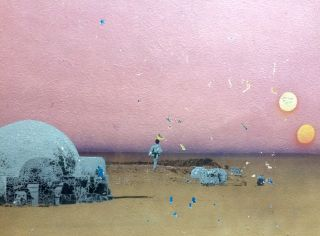 A mini-mural of Tatooine on a pub wall.