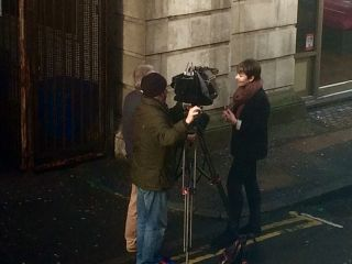 Watching @CarolineLucas get interviewed outside the @Clearleft HQ.