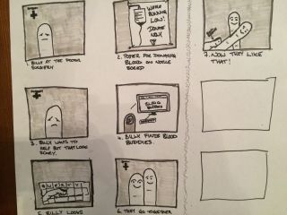 Storyboard for a Blood Buddies promo.