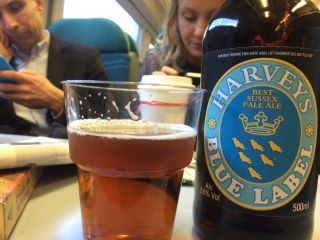 Having a trainbeer in lieu of a deskbeer (on the beer o'clock train from Victoria to Brighton).