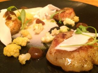 Scallops and curried cauliflower.
