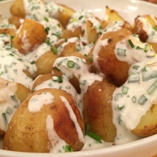 Faked potatoes—they taste like baked potatoes (with sour cream and chives) but they're not baked.